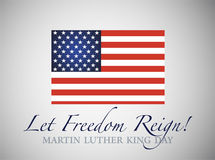 Martin Luther King Day. American Flag isolated on gray. Background. Celebrating on the 18th of January royalty free illustration