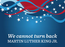 Martin Luther King Day Background. Poster celebrating Martin Luther King, Jr. Day. It has a quote that reads We cannot turn back vector illustration