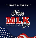 Martin luther king day greeting lettering with quotes. I Have A Dream on wavy american flag background. Vector illustration stock illustration