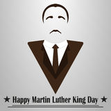 Martin Luther King Day. Hairstyle, mustache and suit stock illustration