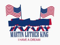 Martin Luther King Day. The hand holds the flag of. The United States. Holiday banner isolated on white background. Vector illustration Stock Image
