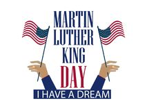 Martin Luther King Day. The hand holds the flag of the United States. Holiday banner isolated on white background. Vector. Illustration Stock Image