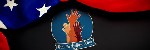 Composite image of martin luther king day with hands. Martin Luther king day with hands against american flag over black background royalty free stock photo