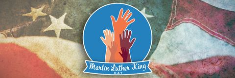 Composite image of martin luther king day with hands. Martin Luther king day with hands against close-up of american flag royalty free illustration
