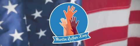 Composite image of martin luther king day with hands. Martin Luther king day with hands against flag with stripes and stars vector illustration
