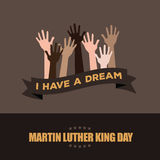 Martin Luther King Day Hands Raised Design Stock Photo