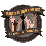 Martin Luther King Day Hands Raised-Ikone Lizenzfreie Stockbilder