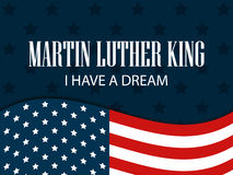 Martin luther king day. I have a dream. The text with the American flag. Vector Stock Photography