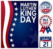 Martin Luther King Day Set. Collection for the Martin Luther King Day, a United States federal holiday observed on the third Monday of January, including a stars vector illustration