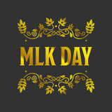 Martin Luther King Day. Sign with golden texture on black stock illustration
