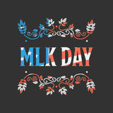 Martin Luther King Day. With USA flag texture ob black background royalty free illustration