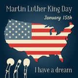 Martin Luther King Day in USA. Vector illustration with an American flag in the form of a map, microphones and a royalty free illustration