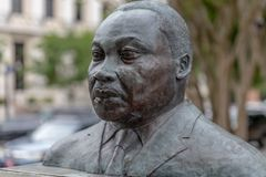Martin Luther King Jr bust. PENSACOLA, FLORIDA - APRIL 8: A bust of Martin Luther King, Jr is displayed in a plaza in Pensacola, Florida royalty free stock images