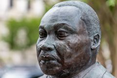 Martin Luther King Jr bust. PENSACOLA, FLORIDA - APRIL 8: A bust of Martin Luther King, Jr is displayed in a plaza in Pensacola, Florida stock image