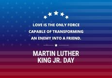 Martin Luther King Jr Day-Feiertagsvektorhintergrund - inspirierend Zitat Lizenzfreies Stockfoto