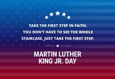 Martin Luther King Jr Day-Feiertagsvektorhintergrund - inspirierend Zitat lizenzfreie abbildung
