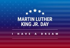 Martin Luther King Jr Day greeting card - I have a dream. Inspirational quote - horizontal blue and red background banner with US flag - vector stock illustration