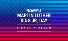 Martin Luther King Jr Day greeting card - I have a dream. Inspirational quote - horizontal blue and red background banner with US flag - vector royalty free illustration