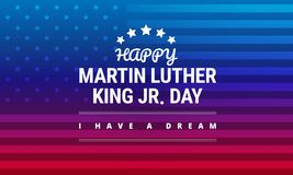 Martin Luther King Jr Day greeting card - vector. Martin Luther King Jr Day greeting card - I have a dream inspirational quote - horizontal blue and red stock illustration