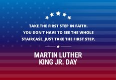 Martin Luther King Jr Day holiday vector background - inspirational quote. About the first step royalty free illustration