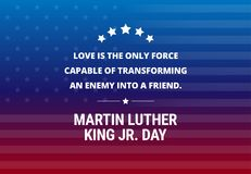 "Martin Luther King Jr Day holiday vector background - inspirational quote. About love ""Love is the only force..&#x22 stock illustration"