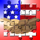 Martin Luther King Jr Day jigsaw. Vector designed jigsaw shows black and white human shake-hand with USA national flag background on Martin Luther King Jr Day stock illustration