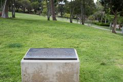 Martin Luther King Jr. Marker at UCLA. Los Angeles, CA: May 7, 2017: Spot where the Dr. Martin Luther King Jr. gave a speech on the UCLA campus. UCLA is a public stock photography