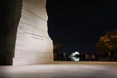 Martin Luther King Jr Memorial Statue Washington DCnatt Evenin Arkivbilder