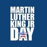Martin Luther King-JR.-Tageszeichen-Blauhintergrund vektor abbildung