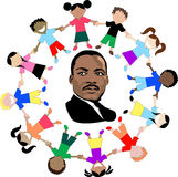 Martin Luther King with kids Stock Images