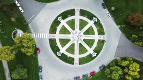 Martin Luther King Memorial in Denver city park aerial view stock video