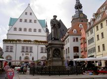 Martin Luther. Luther Monument on the square in Eisleben, Germany 13.10.2009 Royalty Free Stock Photography
