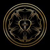 Martin Luther Rose Golden Style Black Background Illustration de Vecteur