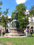 Martin Luther statue in Eisenach, Germany. Monument of monk, priest, theologian Martin Luther on Karlsplatz in the city of Eisenach, Thuringia, Germany royalty free stock photo