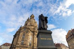 Martin luther statue in front of the frauenkirche church in dresden germany. The martin luther statue in front of the frauenkirche church in dresden germany royalty free stock images