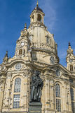 Martin Luther statue in front of the Frauenkirche. The rebuilt Frauenkirche - church of our Lady - in Dresden with Martin Luther statue stock photos