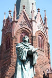 Martin Luther Statue. A statue of Martin Luther outside of Luther Place Memorial Church in Washington DC stock photo