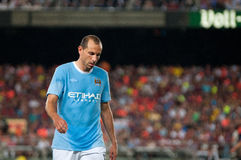 Martin Petrov, Manchester City player, plays against F.C Barcelona Royalty Free Stock Image