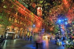 Martin Place, Sydney durante o festival vívido Imagem de Stock Royalty Free