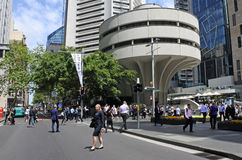 Martin Place Sydney New South Wales Australia. SYDNEY - OCT 18 2016: Traffic on Martin Place, a pedestrian mall in the central business district of Sydney, New Stock Photos