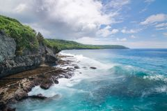 Christmas Island, Martin Point Sea Cliff Coastline Stock Photo