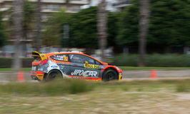 Martin Prokop and his co-driver Jan Tománek in Ford Fiesta RS in Salou , Spain. Rally Driver Martin Prokop and his co-driver Jan Tománek in Ford Fiesta RS WRC Royalty Free Stock Image