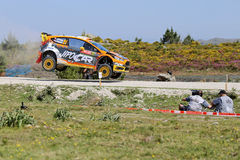 Martin Prokop and Jan Tomanek. Compete in their Ford Fiesta RS WRC during Day Two of the WRC Portugal on May 22, 2015 in Viana do Castelo, Portugal Royalty Free Stock Image