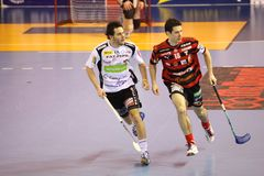 Martin Richter and Jiri Curney - floorball Royalty Free Stock Images