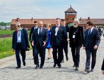 Martin Schulz à Auschwitz-Birkenau 2015 Image libre de droits