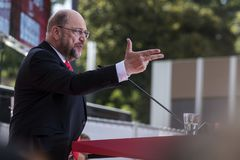 Martin Schulz, German Politician. Gelsenkirchen, Germany. 20 September 2017. Martin Schulz, leader of the SPD Social Democratic Party giving a speech during the royalty free stock photography