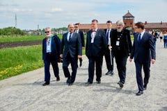 Martin Schulz i Auschwitz-Birkenau 2015 Royaltyfri Foto