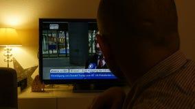 Martin Schulz reaction on Trump president election on Phoenix TV. PARIS, FRANCE - NOV 9, 2016: Watching on German TV - Phoenix - Martin Schulz candidate after stock video