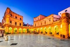 Martina Franca, Puglia, Italy. Martina Franca, Puglia in Italy. Piazza Plebiscito and Basilica di San Martino at twilight. Apulia, Bari region in Italia royalty free stock images