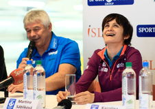 Martina Sablikova with her coach Royalty Free Stock Image